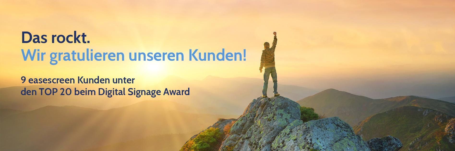 9 von den Top 20 sind easescreen Kunden beim Digital Signage Award 2019